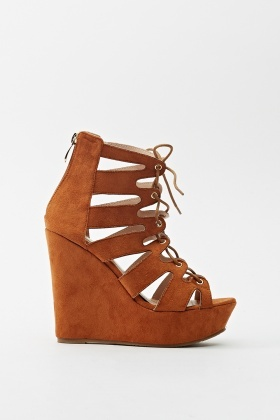 Cut Out Suedette Wedge Heels