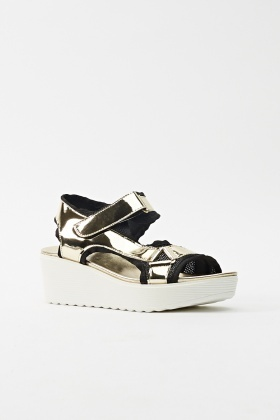 Mesh Insert Metallic Shine Sandals