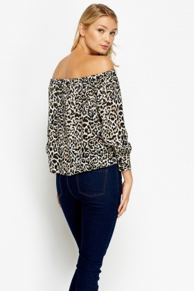 49caedea Leopard Print Off Shoulder Top - Just £5