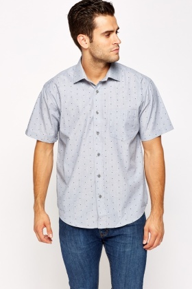 Middle Blue Printed Short Sleeves Shirt