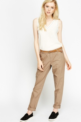 Coloured Casual Belted Chinos
