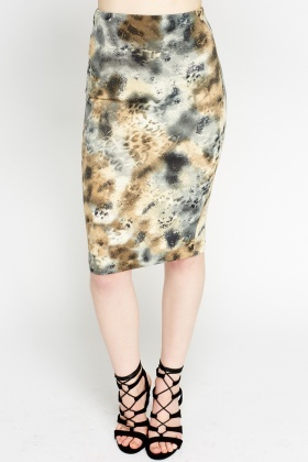 Marble Mixed Print Pencil Skirt