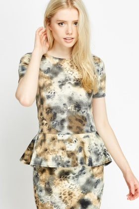 Marble Mixed Print Peplum Top