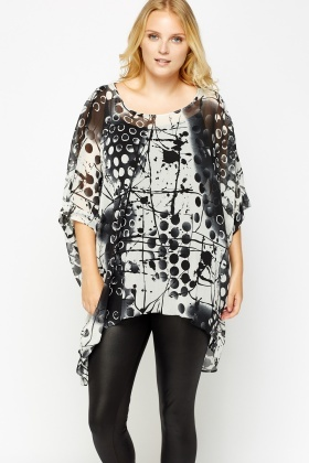 Mixed Print Flare Top