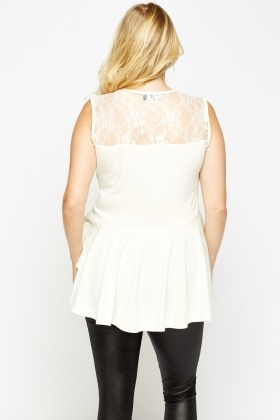 Off White Laced Asymmetric Top
