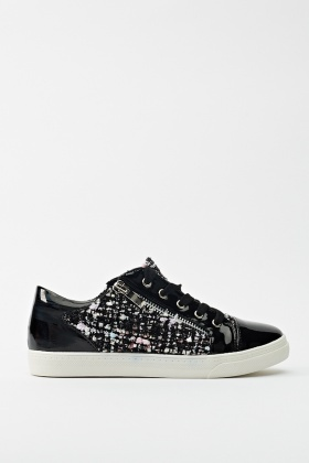 Woven Insert PU Trainers