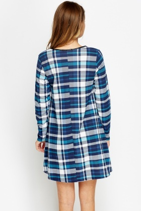 Navy Checked Tent Dress