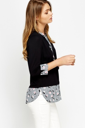 Black Flower Shirt Insert Sweater