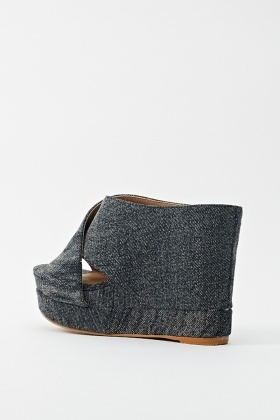 Cross Front Denim Wedge