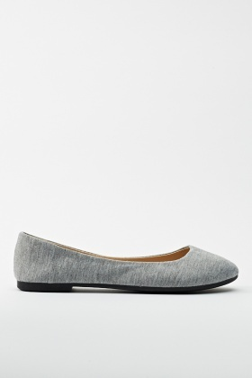 Grey Flat Pumps