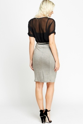 Belted Fitted Skirt