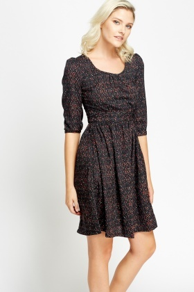 Black skater dress 3 4 sleeves