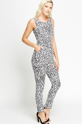 Fitted Abstract White Jumpsuit