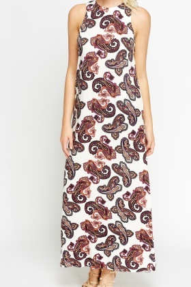 Off White Paisley Print Maxi Dress