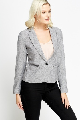 White Cropped Formal Blazer