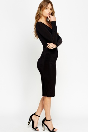 7c66f5107910 Bodycon Long Sleeve Plunge Dress - Just £5