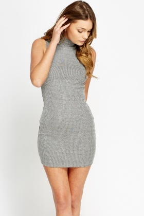 Grey High Neck Ribbed Dress