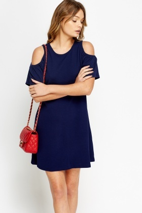 Navy Cold Shoulder Swing Dress