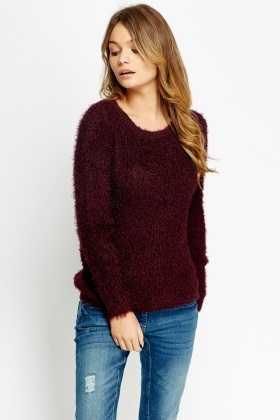 Plum Eyelash Jumper
