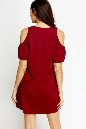 Cold Sleeves Maroon Skater Dress