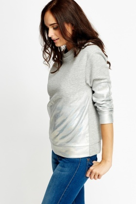 Metallic Spray Hem Petite Sweatshirt