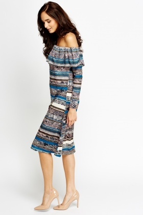 30fd3b92fd9c Multi Stripe Off Shoulder Dress - Just £5