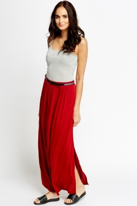 Red Long Belted Skirt