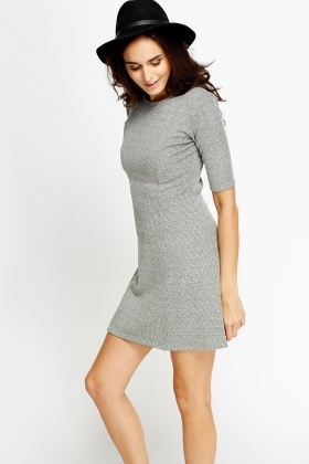 Textured Grey Mini Dress