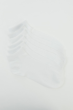 6 Pairs Pack Of Cotton Rich Invisible Socks