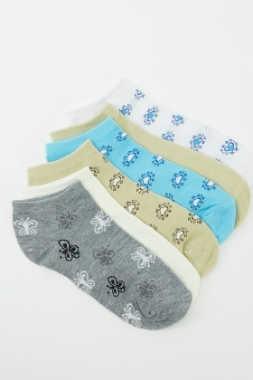 6 Pairs Pack Of Heart Print Socks