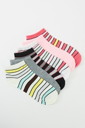6 Pairs Pack Of Striped Print Socks