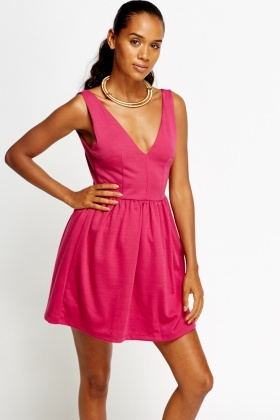 Low V Fuchsia Mini Skater Dress