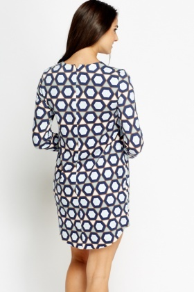 Navy Printed Shift Dress
