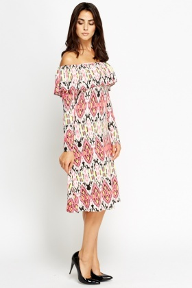 Off Shoulder Kaleidoscope Print Dress
