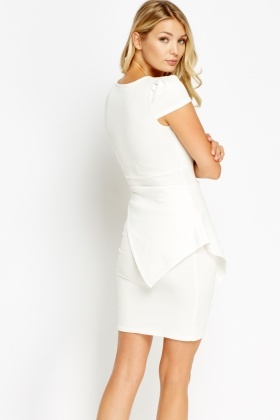 Asymmetric Peplum Bodycon Dress - Just £5