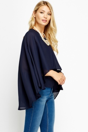 Cape Poncho Flare Sheer Top