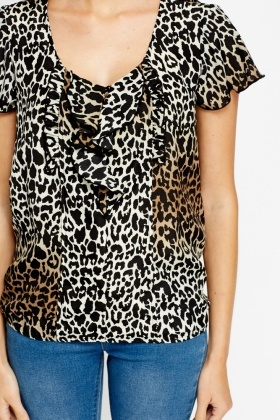 Leopard Print Flared Top