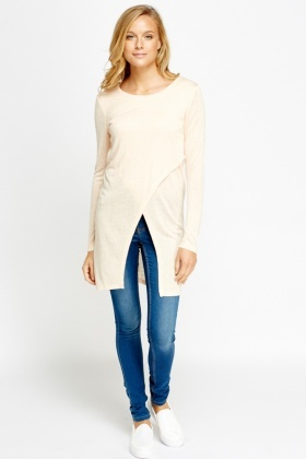 Long Line Wrapped Hem Top