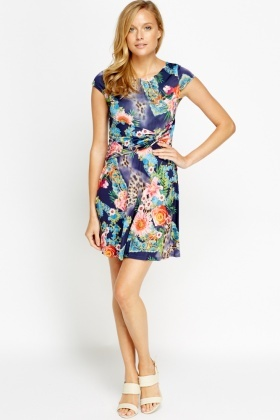 Mixed Print Twisted Dress