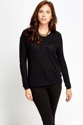 Bobble Knit Black Jumper