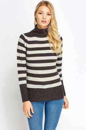 Knitted Striped Roll Neck Jumper