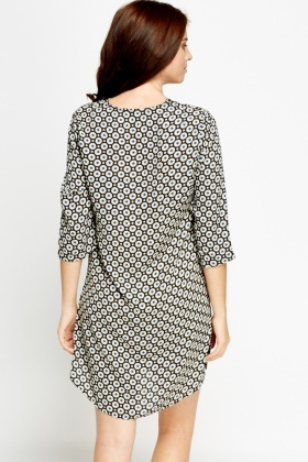 Printed Zipped Neck Tunic Dress