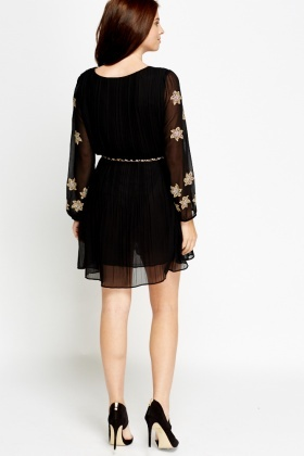 Sheer Embellished Shift Dress