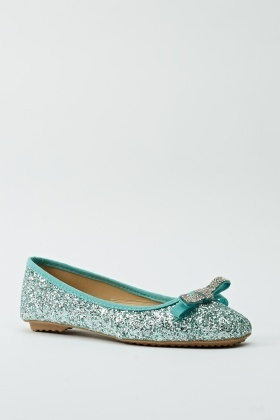 Encrusted Bow Glittered Ballerinas