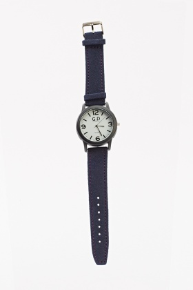 Round Face Contrast Quilted Watch