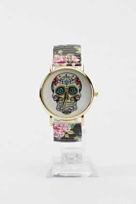 Skull Printed Face Floral Strap Watch