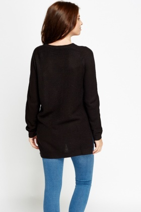 Long Black Casual Knit Jumper