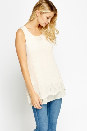 Metallic Loose Knit Insert Top
