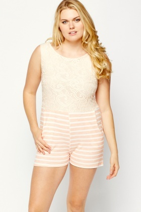 Peach Lace Bodice Striped Playsuit