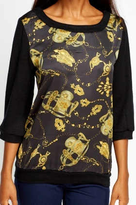 Printed Silky Front Jumper